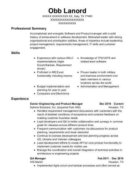 Qa Manager resume template Texas