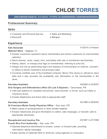 Sale Associate resume sample Texas