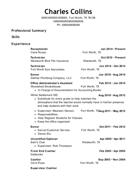 Receptionist resume sample Texas