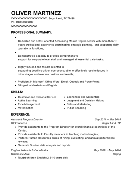 Assistant Program Director resume format Texas