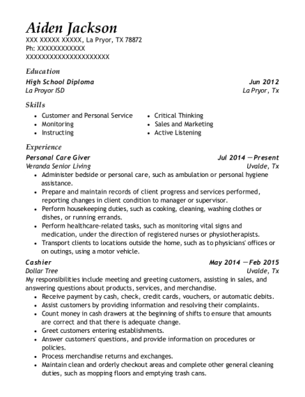 Personal Care Giver resume sample Texas