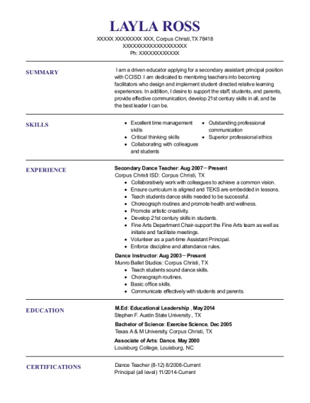 Secondary Dance Teacher resume format Texas