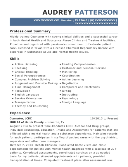 Counselor resume sample Texas