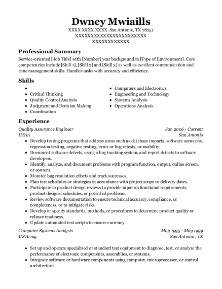 Quality Assurance Engineer resume template Texas