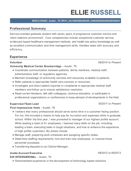 Volunteer resume example Texas