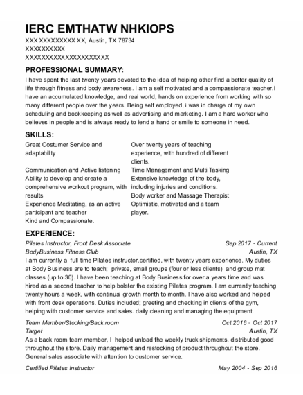 Pilates Instructor resume sample Texas