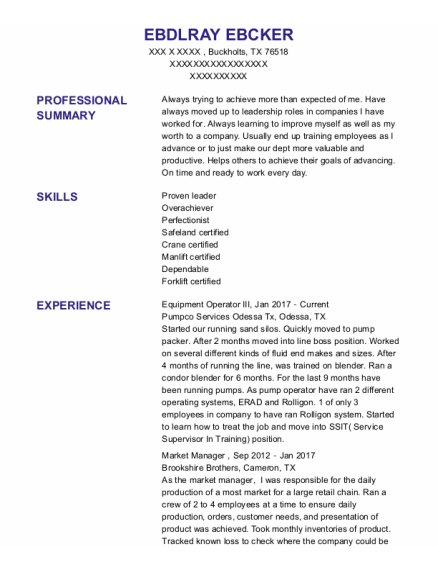 Market Manager resume template Texas