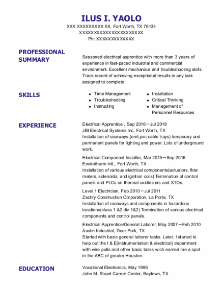 Electrical Apprentice resume template Texas
