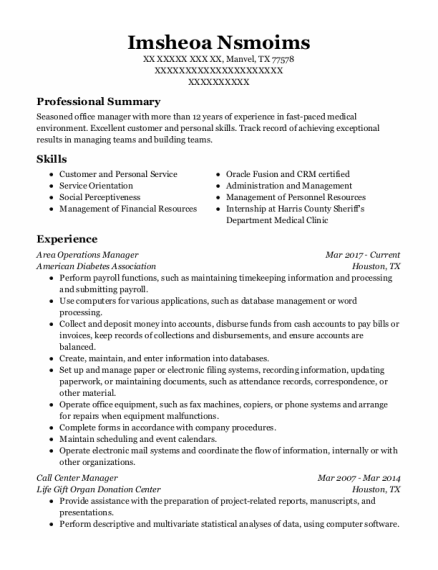 Call Center Manager resume sample Texas