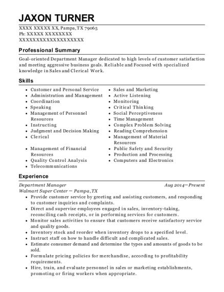 Department Manager resume template Texas