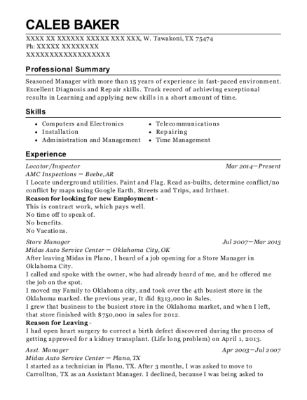 Locator resume template Texas