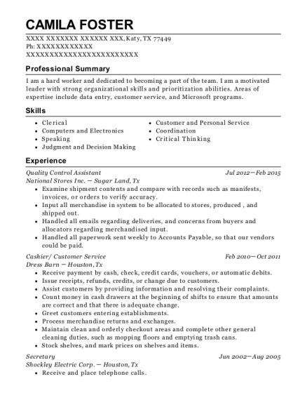 Quality Control Assistant resume sample Texas