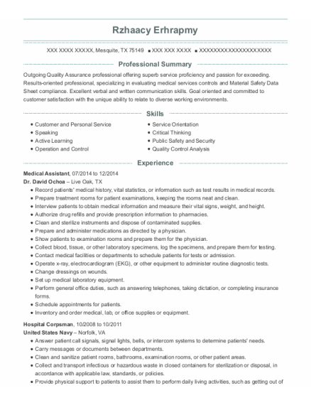 Medical Assistant resume example Texas