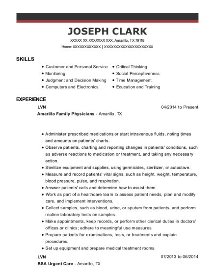 LVN resume example Texas