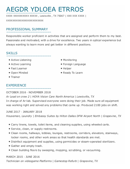 Houseman resume template Texas