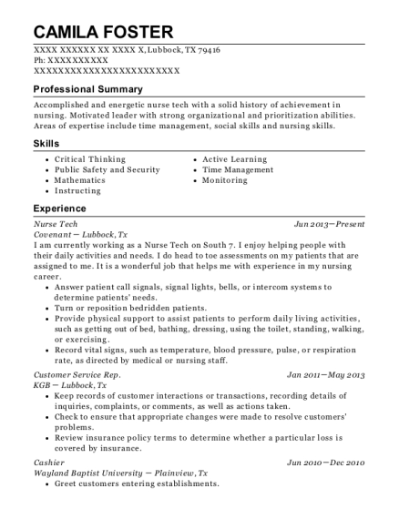Nurse Tech resume template Texas