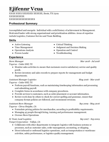 Store Manager resume format Texas