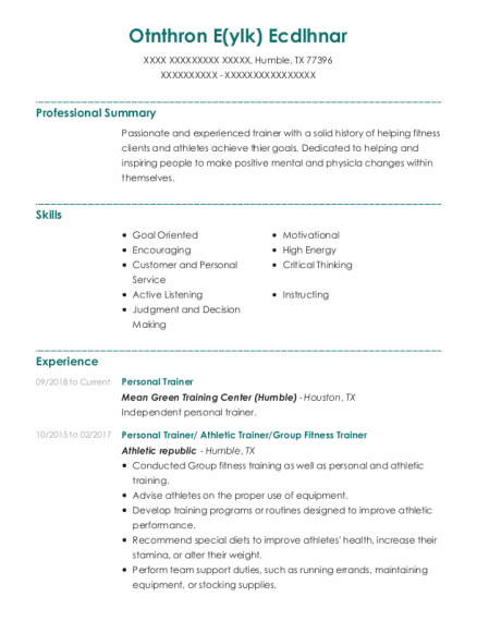 Personal Trainer resume example Texas