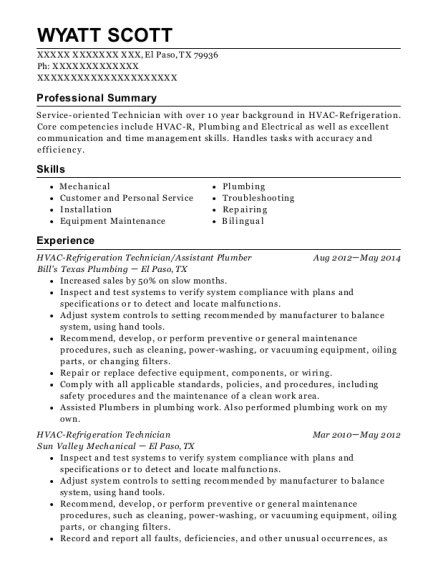 HVAC Refrigeration Technician resume format Texas