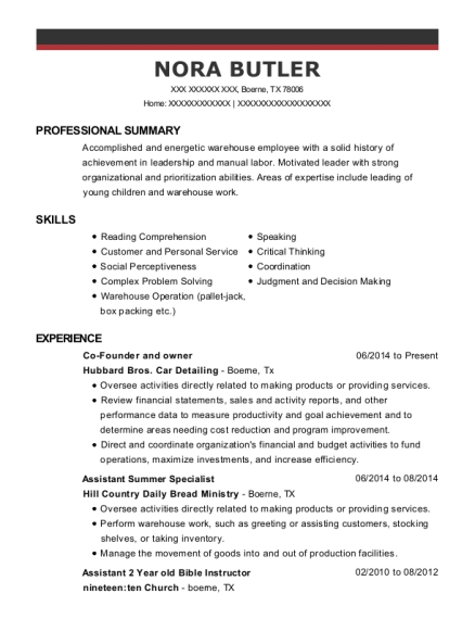 Co Founder and owner resume example Texas
