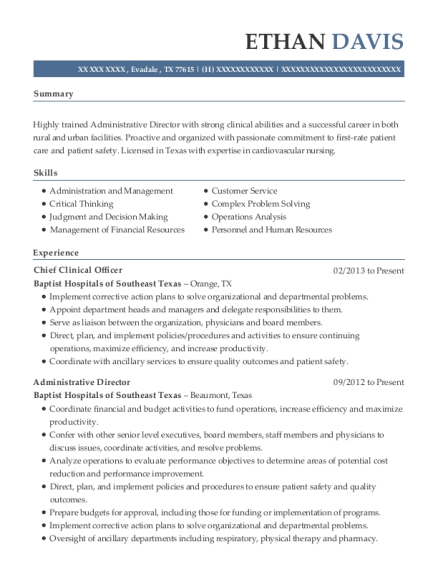 Chief Clinical Officer resume template Texas