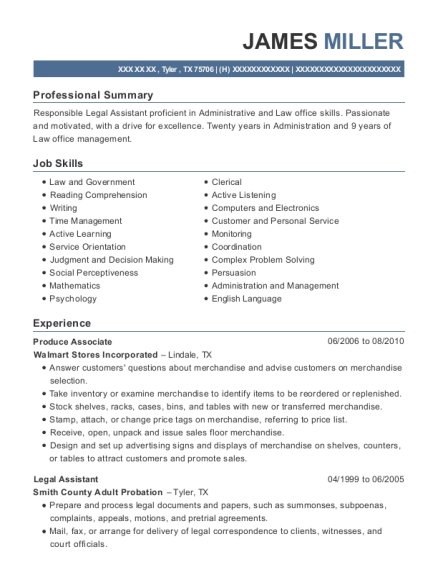 Produce Associate resume format Texas