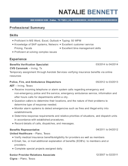 Benefits Verification Specialist resume format Texas
