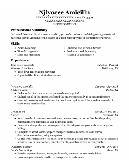 Inventory Specialist resume template Texas