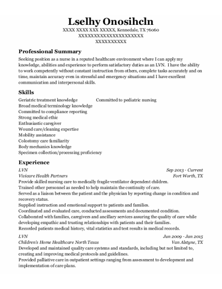 LVN resume template Texas