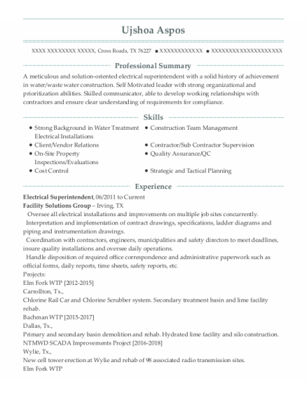 Electrical Superintendent resume format Texas
