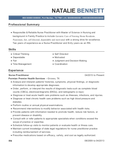 Nurse Practitioner resume example Texas