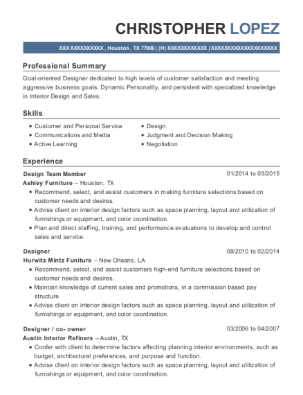 Design Team Member resume example Texas