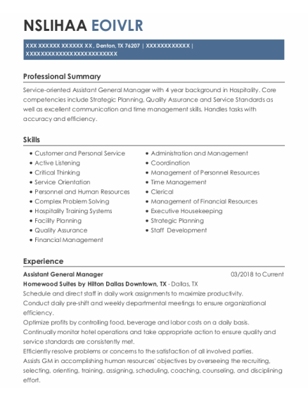 Assistant General Manager resume template Texas
