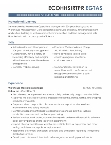 Warehouse Operations Manager resume sample Texas