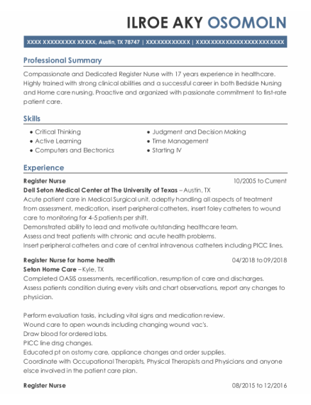 Register Nurse resume sample Texas