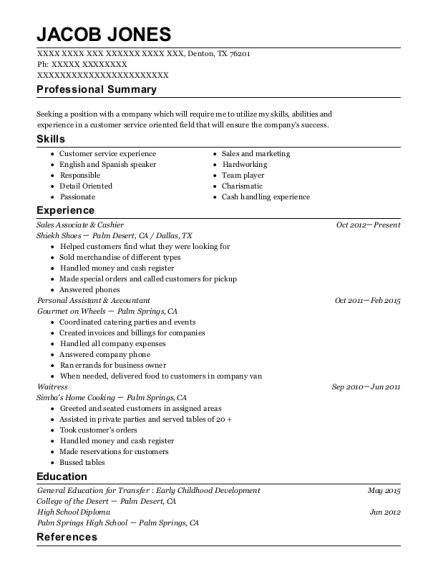 Sales Associate & Cashier resume format Texas