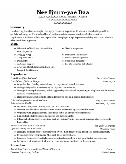 Private Caregiver resume example Texas