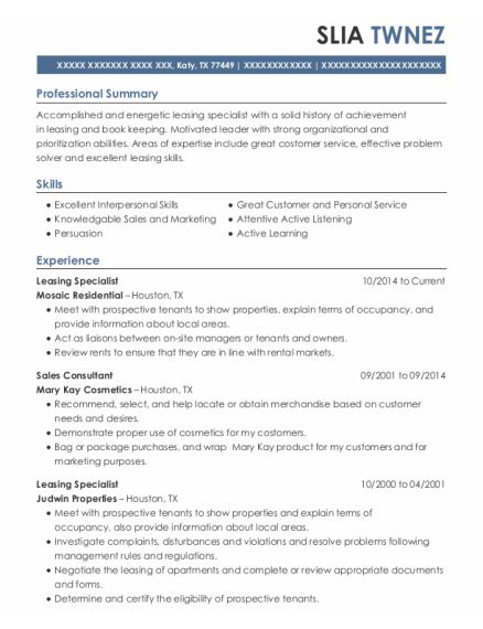 Leasing Specialist resume sample Texas
