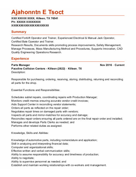 Parts Manager resume example Texas