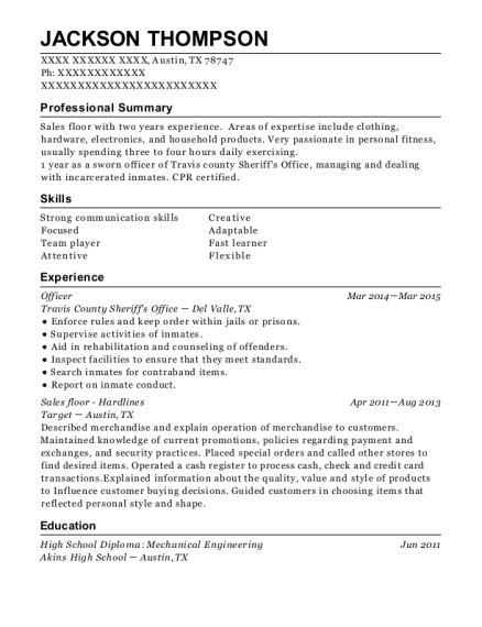 Officer resume example Texas