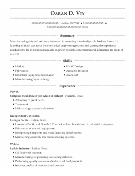 Server resume example Texas
