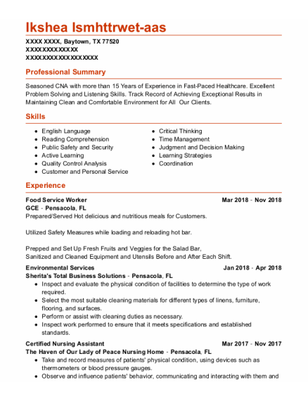 Food Service Worker resume example Texas