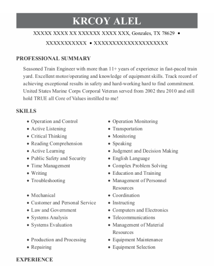 Corporal resume example Texas