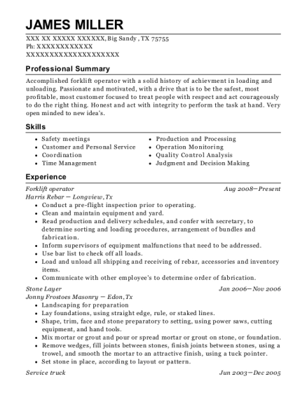 Forklift Operator resume example Texas