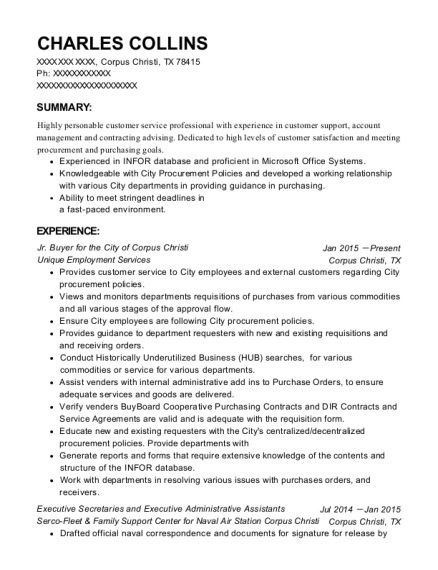 Jr Buyer for the City of Corpus Christi resume sample Texas