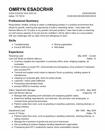 Receiving Lead resume sample Texas