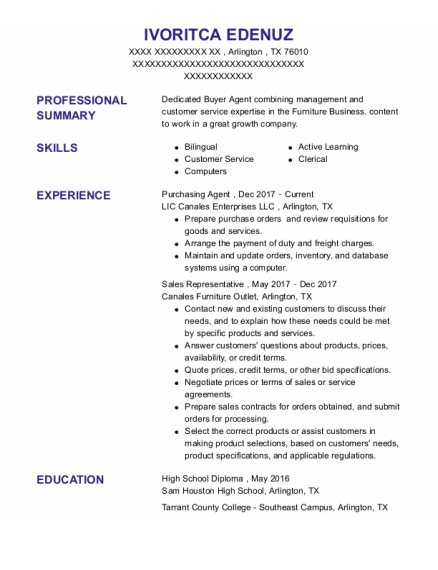 Purchasing Agent resume format Texas
