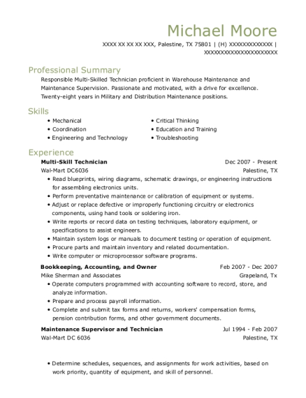 Multi Skill Technician resume format Texas