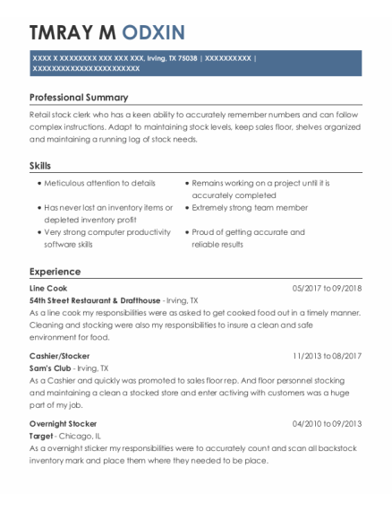 Line cook resume example Texas