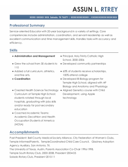 Principal resume example Texas